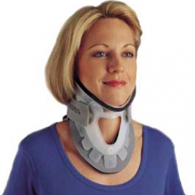 Woman with cevical orthoses (CO's)